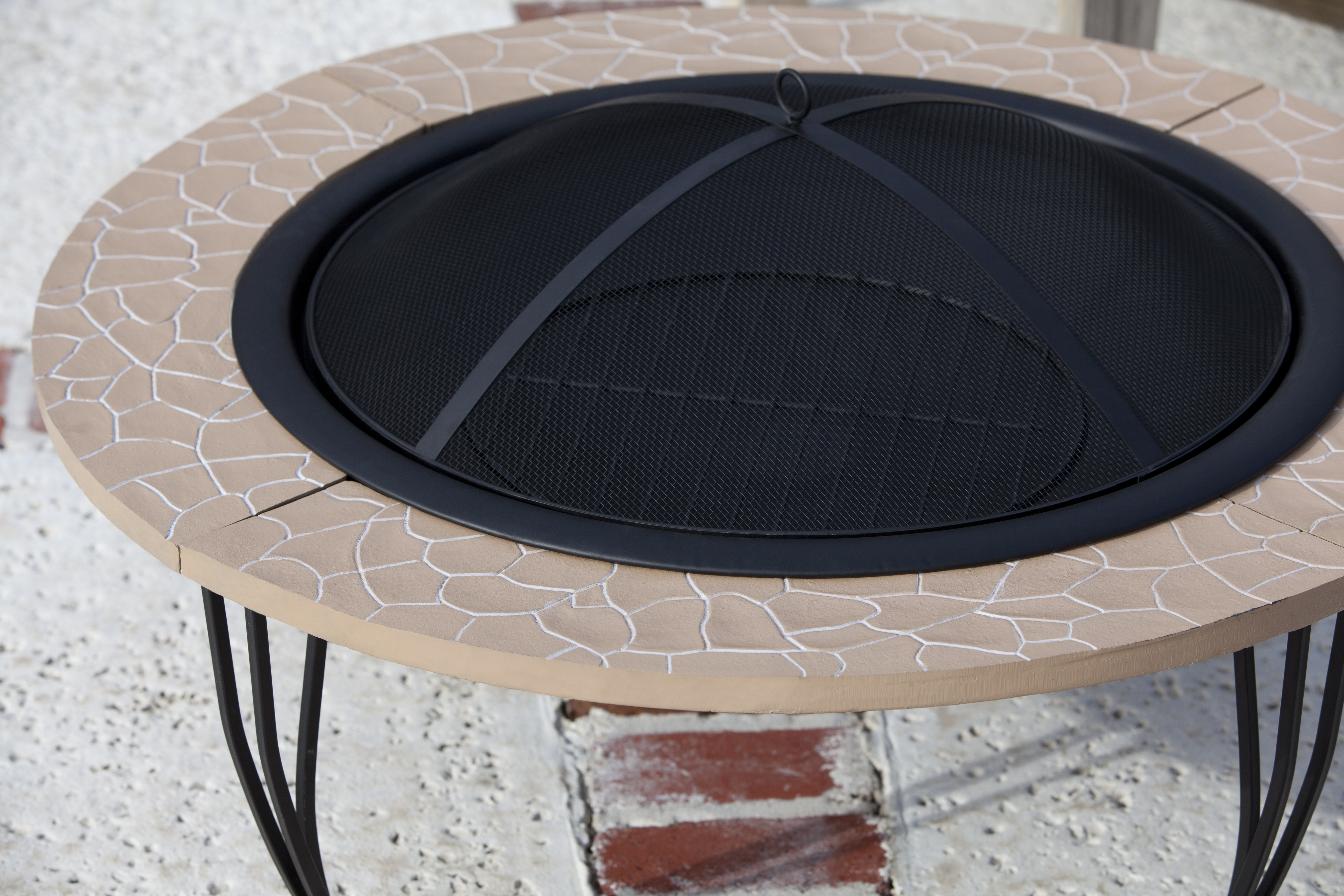 Cast Iron Rim Stone Finish Fire Pit Well Traveled Living