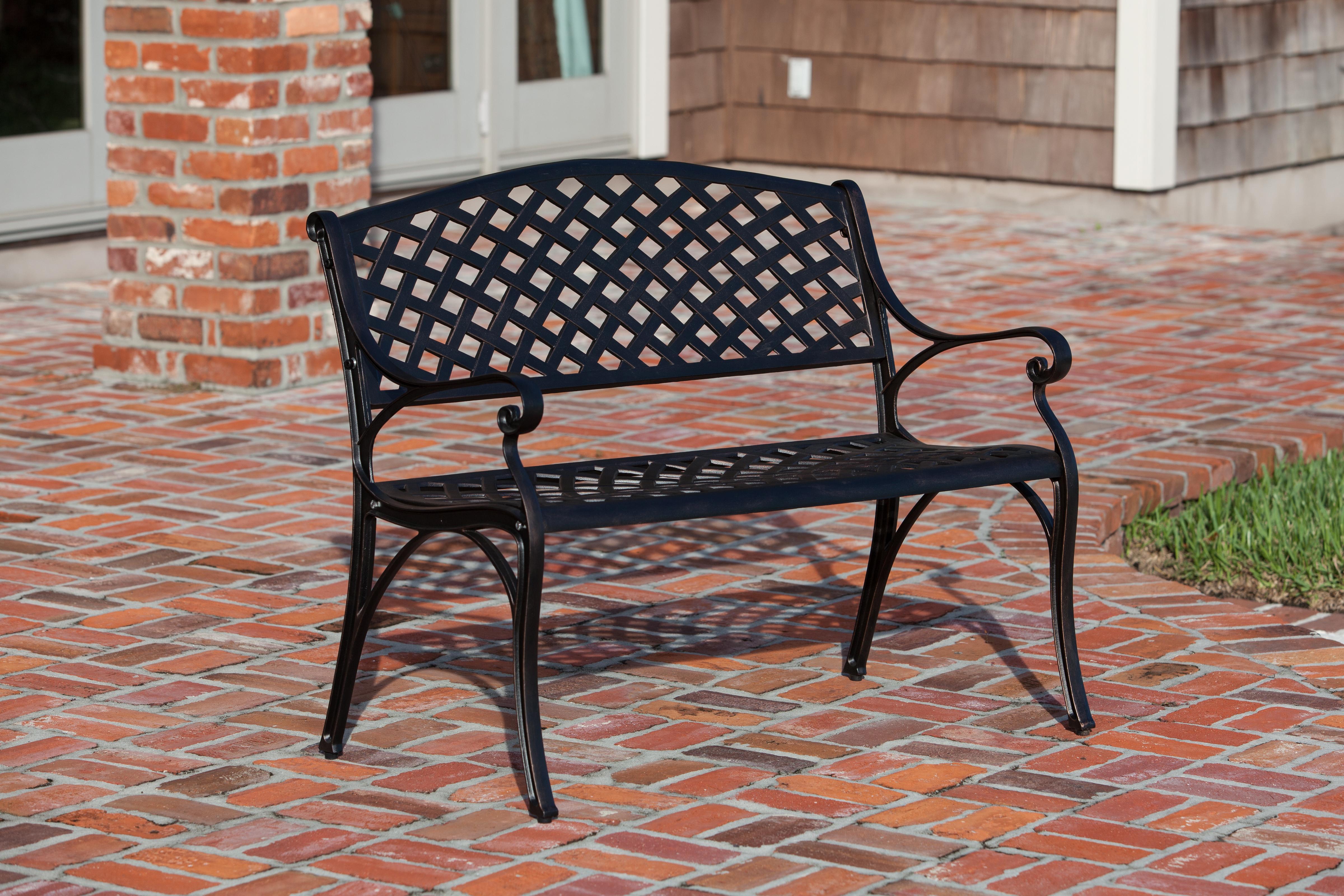 Antique Bronze Cast Aluminum Patio Bench Well Traveled Living