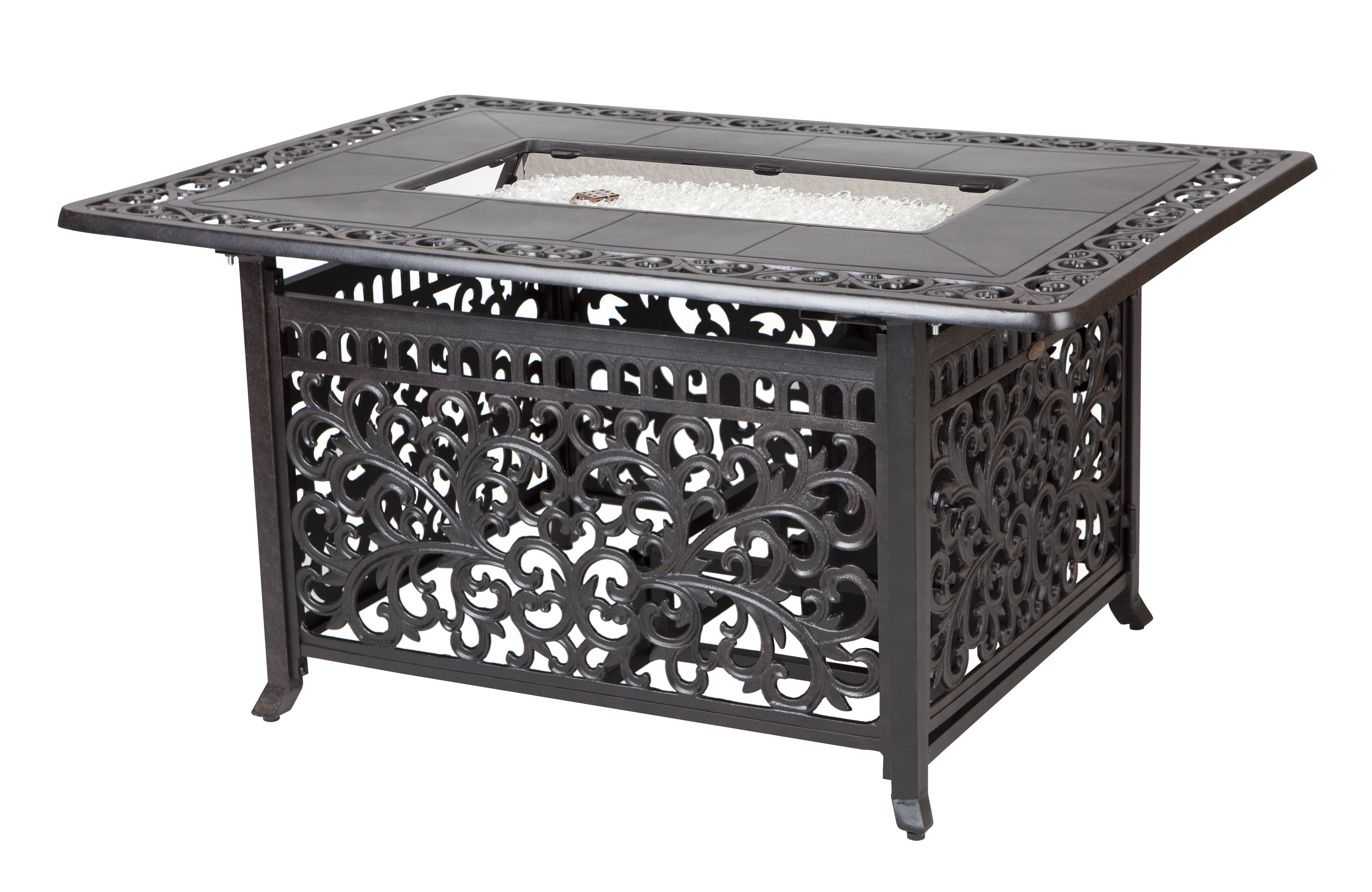 sedona cast aluminum rectangular lpg fire pit costco com
