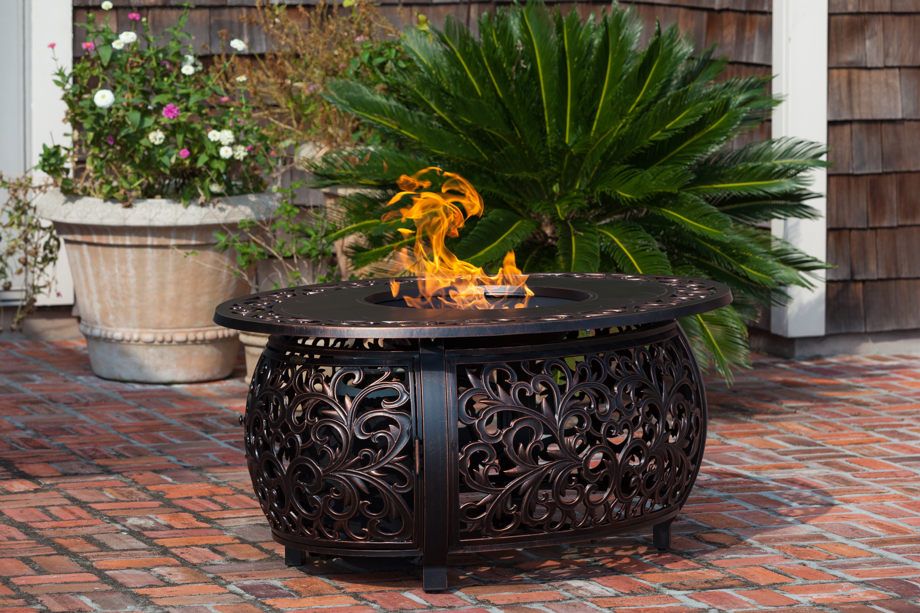 Toulon Oval Aluminum Lpg Fire Pit Well Traveled Living