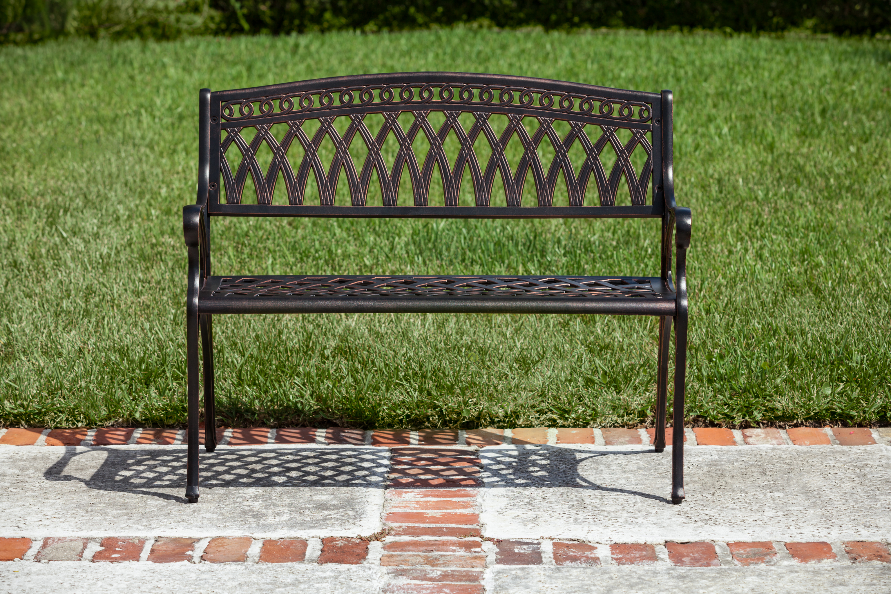 Simone Cast Aluminum Bench Well Traveled Living
