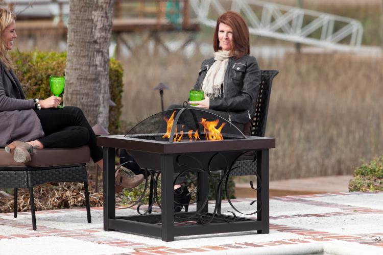 Hammer Tone Bronze Finish Cocktail Table Fire Pit Well
