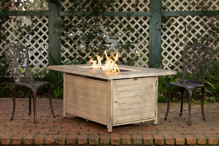 Sawyer Driftwood Rectangle Aluminum Lpg Fire Pit Well