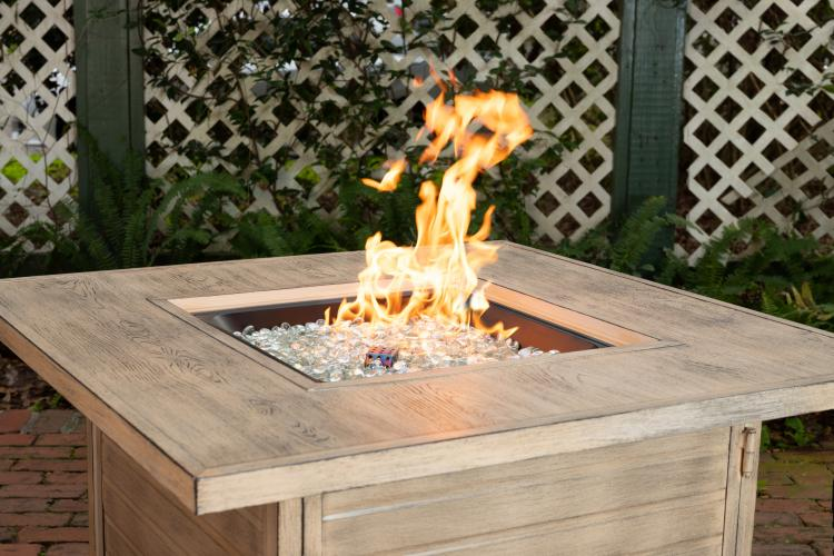 Langhorne Square Aluminum Lpg Fire Pit In Driftwood Well