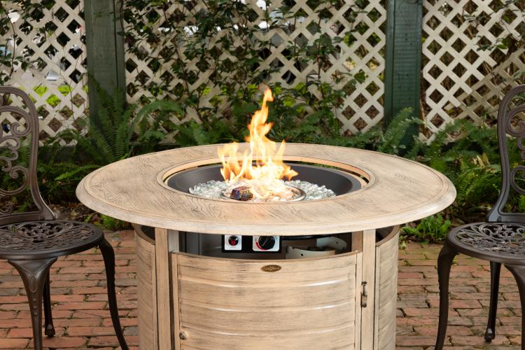 Thatcher Round Lpg Fire Pit In Driftwood Well Traveled