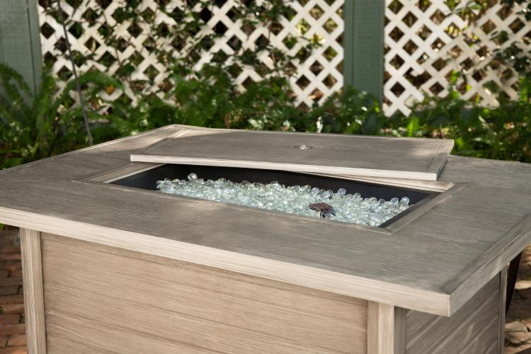 Sawyer Rectangle Aluminum Lpg Fire Pit In Barnwood Well