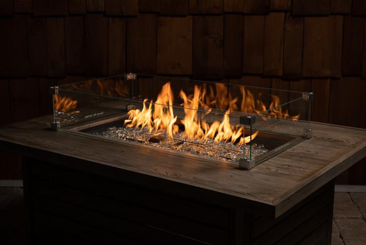 Tempered Glass Wind Guard For Rectangular Fire Pits Well