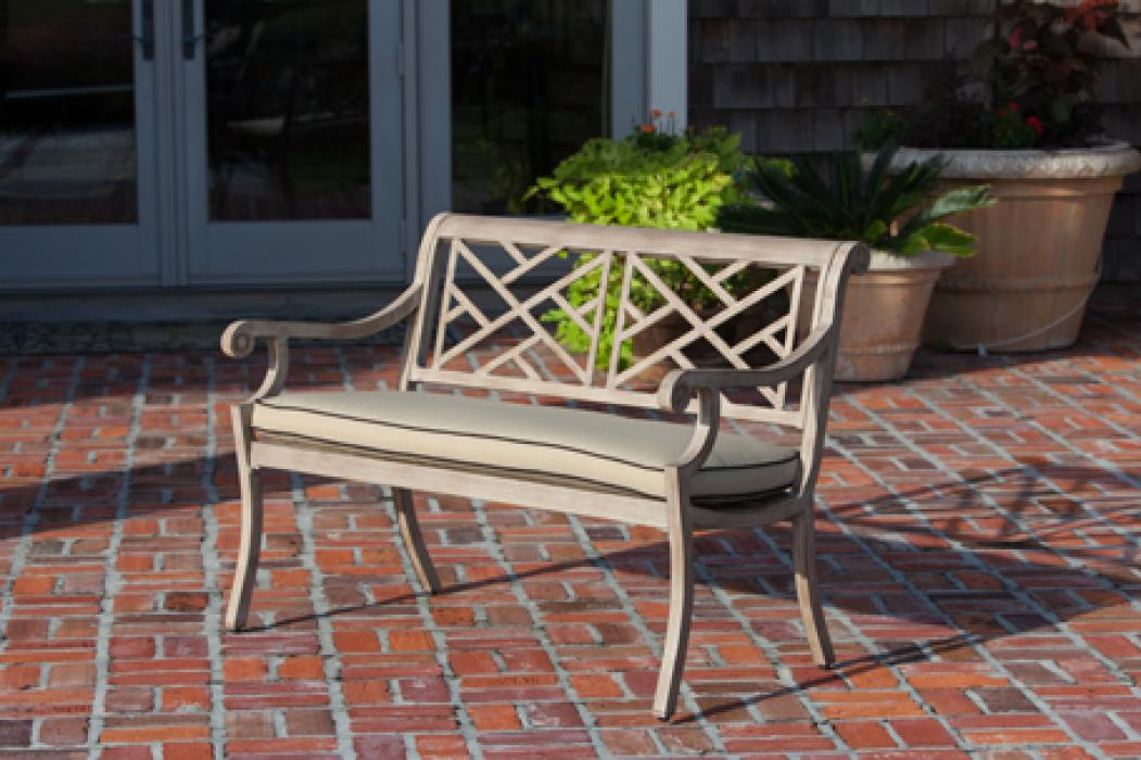 Aged Teak Wood Finish Aluminum Patio Bench | Well Traveled ...