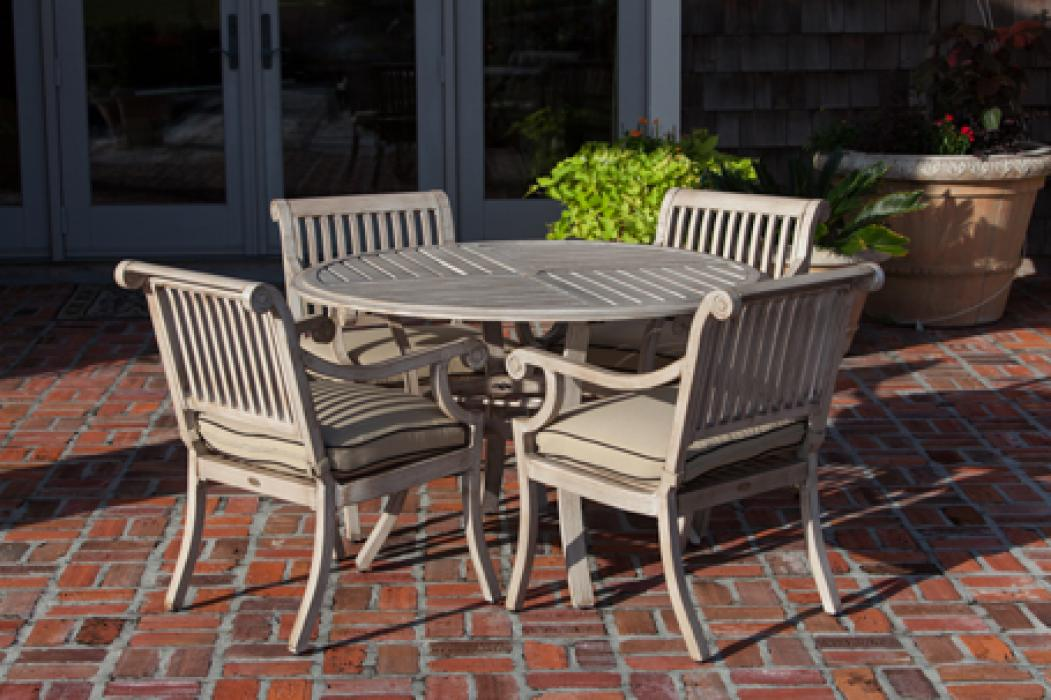 Aged Teak Wood Finish Aluminum Patio Dining Set Well